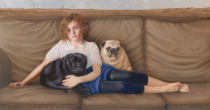 Painting - Girl with Two Pugs